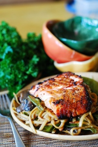 salmon and noodles